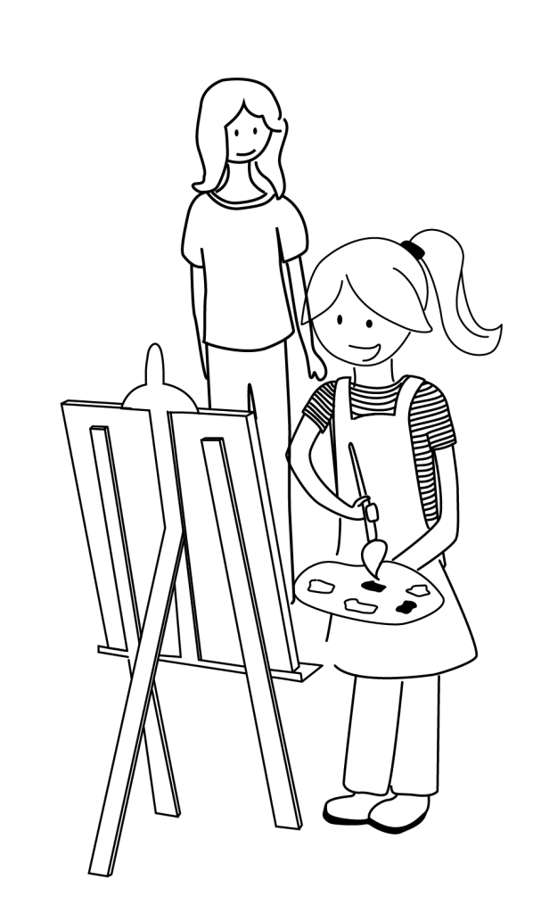 Enfant et Nannie peinture Ma Nannie +